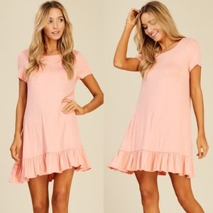 BILLY Short Sleeve Ruffle Dress - PEACH